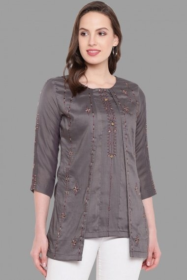 Grey Blended Art Silk Embroidered Jacket Style Tunic
