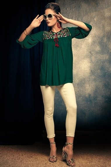 Bottle Green Rayon Fancy Tunic with Embroidery