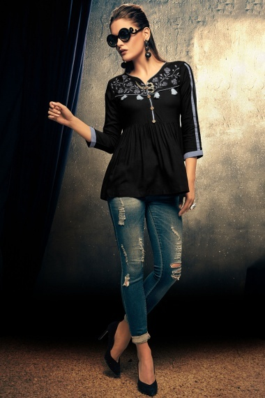 Black Rayon Fancy Tunic with Embroidery