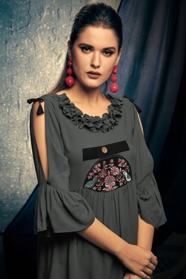 Grey Rayon Pleated Tunic with Designer Sleeves