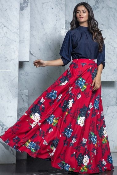 Navy Blue Rayon High Neck Top with Floral Printed Skirt