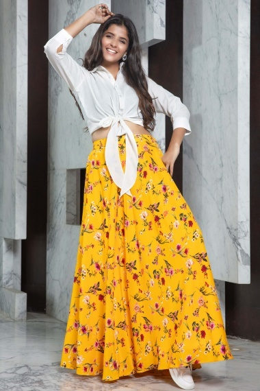 Off White Rayon Shirt Style Crop Top with Floral Printed Skirt