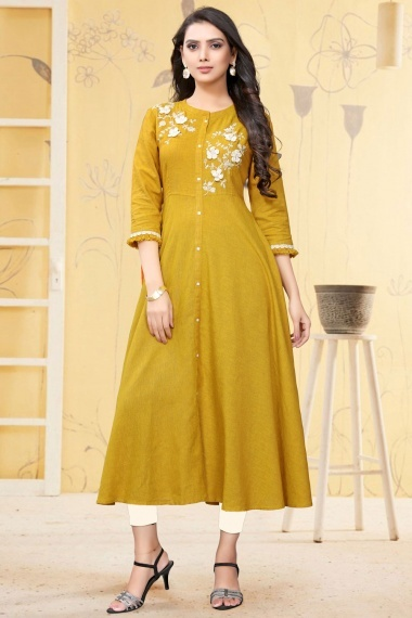 Mustard Linen Kurti with Embroidery