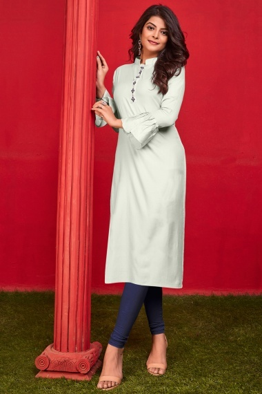 Off White Cotton Straight Cut Kurti with Embroidery