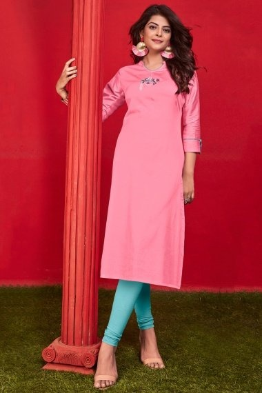 Pink Cotton Straight Cut Kurti with Embroidery