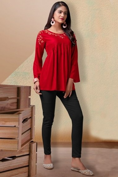Red Rayon Tunic with Embroidery