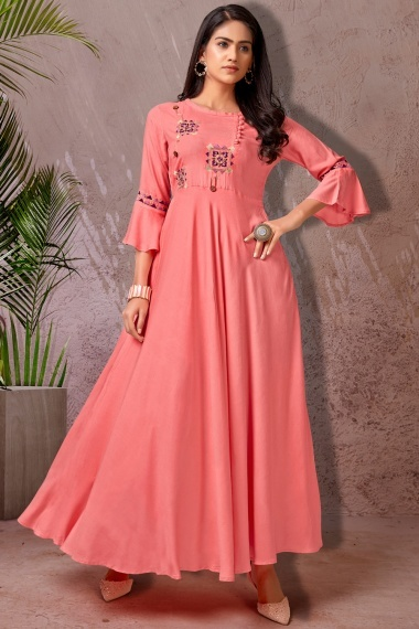 Pink Rayon Embroidered Anarkali Kurti with Bell Sleeves