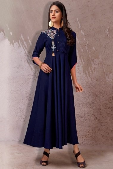 Navy Blue Rayon Anarkali Kurti with Floral Embroidery