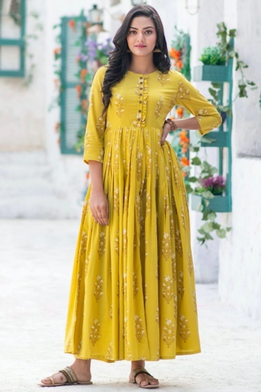 Yellow Muslin Pleated Long Kurti with Floral Print