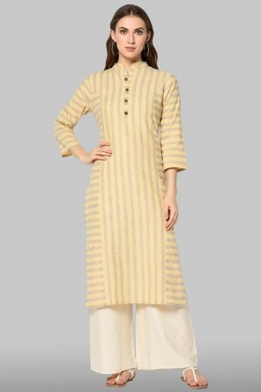 Light Yellow Cotton Stripes Printed Straight Cut Suit