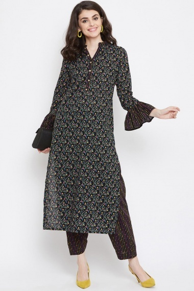 Black Cotton Multi Colored Floral Printed Straight Cut Kurti with Bell Sleeves