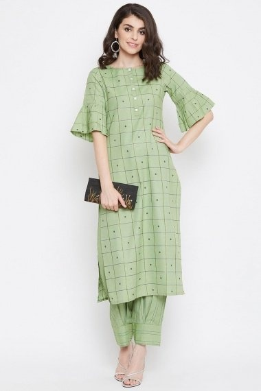 Light Green Cotton Checks Printed Straight Cut Kurti with Bell Sleeves