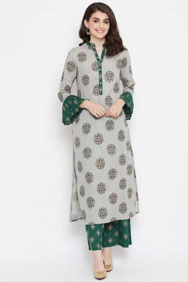 Grey Cotton Printed Straight Cut Bell Sleeves Kurti with Palazzo