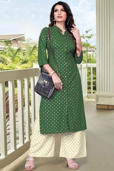 Bottle Green Rayon Foil Printed Straight Cut Kurti with Palazzo