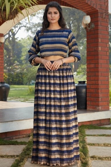 Blue and Golden Imported Fancy Crop Top with Skirt
