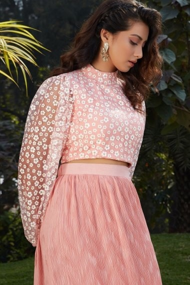 Pink Net Fancy Floral Printed High Neck Crop Top with Skirt