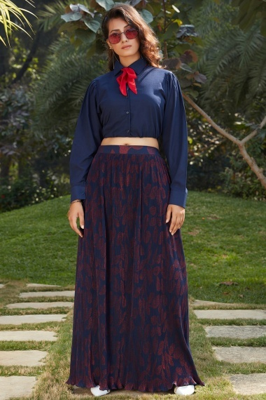 Blue Georgette Fancy Shirt Style Crop Top with Printed Skirt