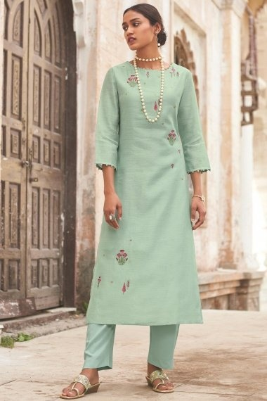 Sea Green Cotton Silk Embroidered Straight Cut Kurti with Pant