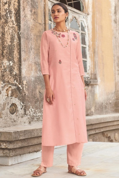 Pink Cotton Silk Embroidered Butta Kurti with Pant