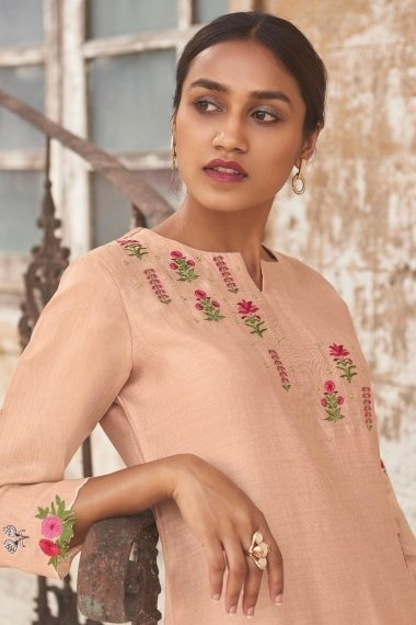 Peach Cotton Silk Embroidered Butta Kurti with Pant