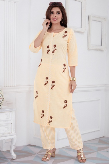 Cream Cotton Straight Cut Embroidered Kurti with Pant and Orange Highlights