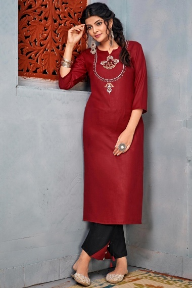 Maroon Rayon Embroidered Straight Cut Kurti with Pant