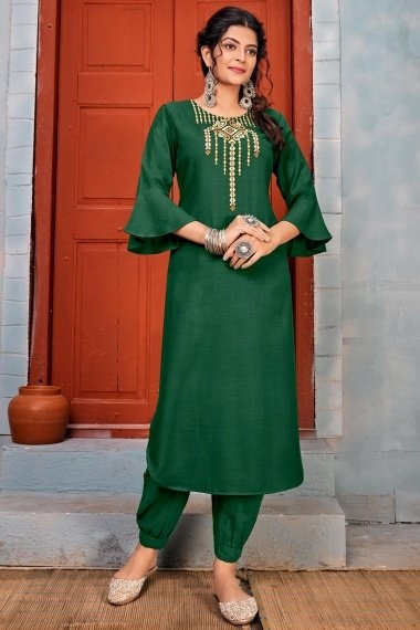 Bottle Green Rayon Embroidered Straight Cut Kurti with Bell Sleeves