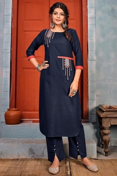 Navy Blue Rayon Embroidered Straight Cut Kurti with Pant