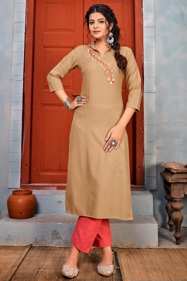 Beige Rayon Embroidered High Neck Kurti with Pant