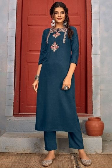 Prussian Blue Rayon Straight Cut Embroidered Kurti with Pant