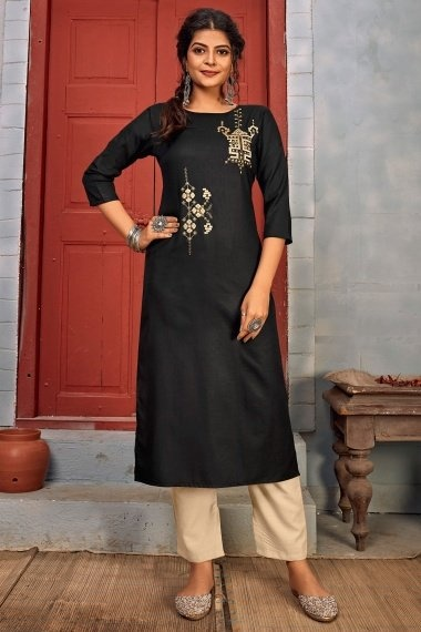 Black Rayon Straight Cut Embroidered Kurti with Pant
