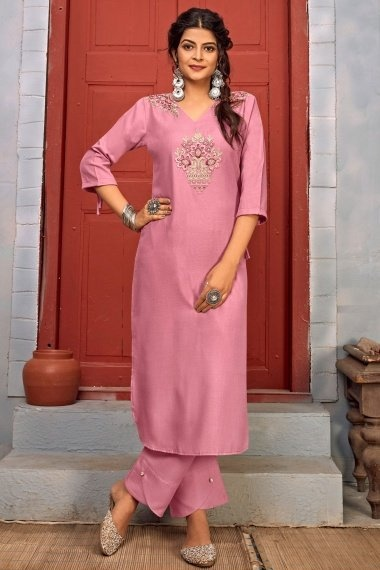 Dusty Pink Rayon Straight Cut Embroidered Kurti with Pant