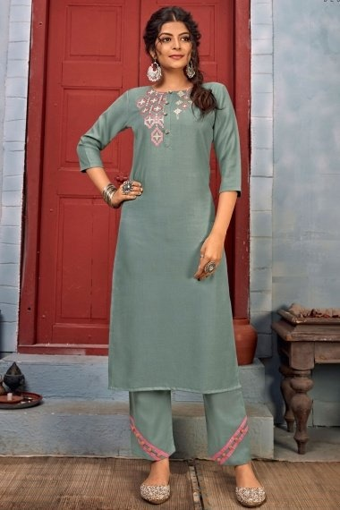 Grey Rayon Straight Cut Embroidered Kurti with Pant