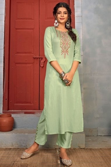Pistachio Green Rayon Straight Cut Embroidered Kurti with Pant
