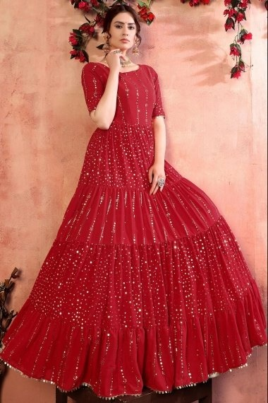 Red Georgette Flared Anarkali Kurti with Sequins