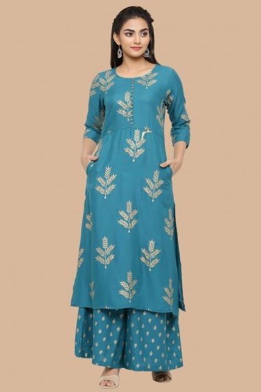 Teal Blue Rayon Foil Printed Staright Cut Kurti with Palazzo