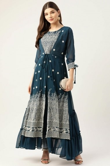 Teal Blue Georgette Embroidered Jacket Style Long Kurti