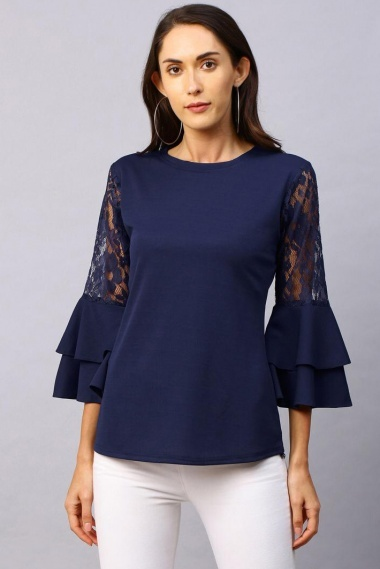 Blue Lycra Plain Top with Double Layered Sleeves