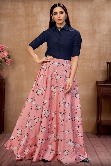 Navy Blue Silk Shirt Style Crop Top with Floral Printed Skirt
