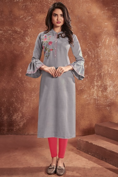 Grey Cotton Embroidered Straight Cut Kurti with Bell Sleeves