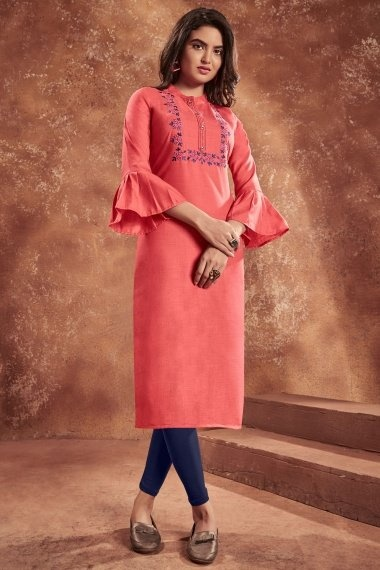 Coral Pink Cotton Embroidered Straight Cut Kurti with Bell Sleeves