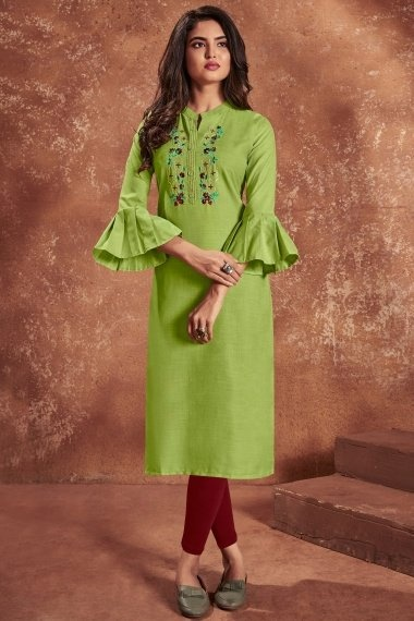 Parrot Green Cotton Embroidered Straight Cut Kurti with Bell Sleeves