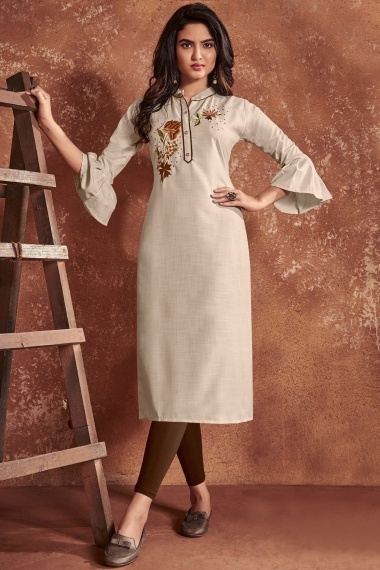 Cream Cotton Embroidered Straight Cut Kurti with Bell Sleeves