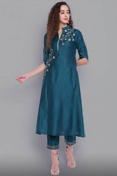 Teal Green Cotton Silk Embroidered Kurti with Pant