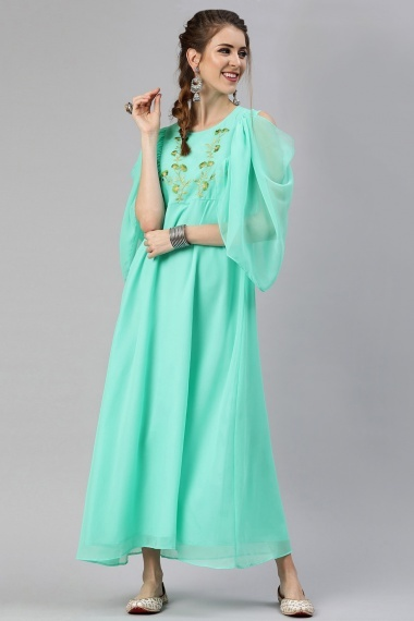 Turquoise Green Embroidered Kurti