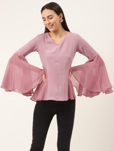 Pink Chiffon Georgette Bell Sleeved Tunic