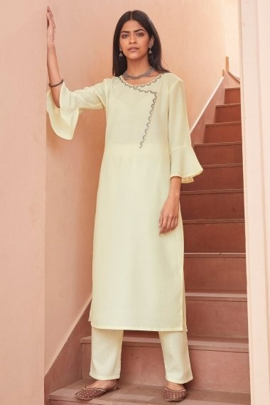 Cream Cotton Embroidered Kurti with Pant