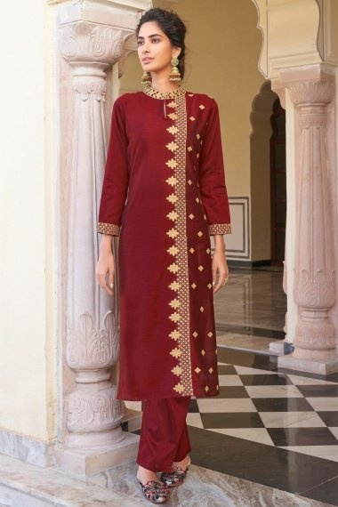 Red Viscose Embroidered Kurti with Pant