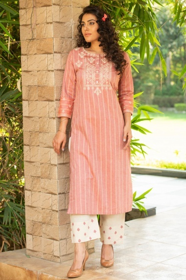 Light Peach Cotton Embroidered Kurti with Pant