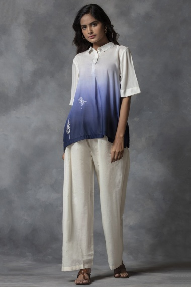 Off White and Blue Shirt Style Top with Palazzo
